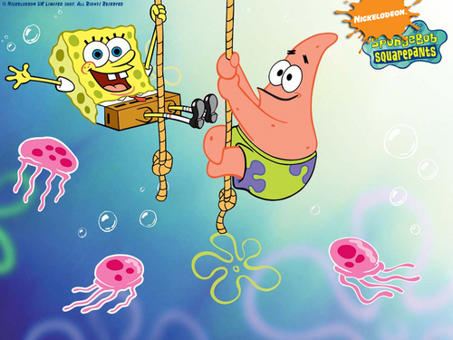 Spongebob Squarepants kertas dinding entitled Spongebob Squarepants and Patrick kertas dinding