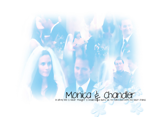 Chandler and Monica - monica-and-chandler Wallpaper