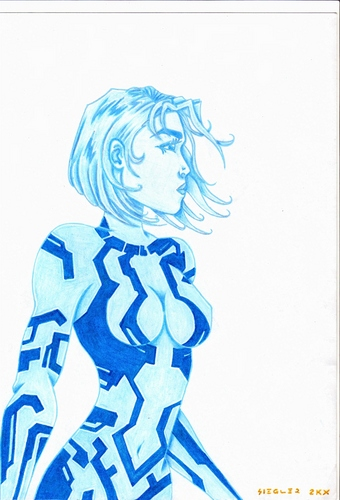 Cortana (done with pen and pencil on cardstock)
