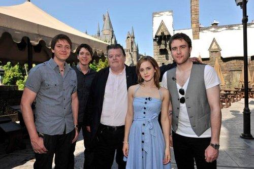 Emma Watson, Matt Lewis, Phelps twins & Robbie Coltrane visit Harry Potter theme park