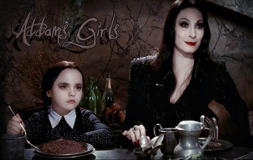 Addams Family wallpaper entitled Morticia and Wednesday