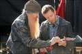 TJ and Billy Gibbons behind the scenes of the season finale of Bones!