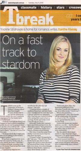 Yvonne Strahovski in Australia's Daily Telegraph