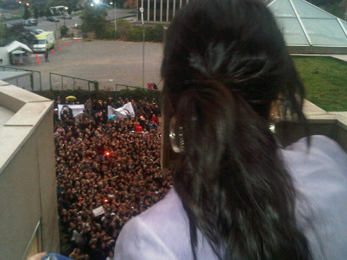Demi Lovato kwa the balcony of her Hotel Room in Chile