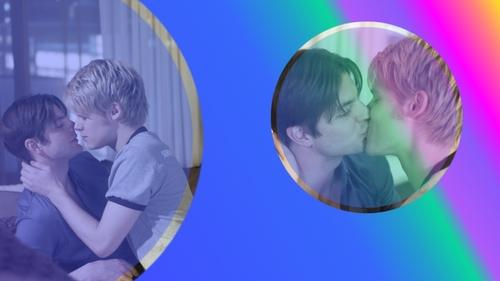 Queer As Folk wallpaper entitled Brian&Justin Bubble (Wallpaper 1366x768)