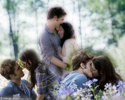 Twilight Series wallpaper titled Edward-holds-Bella-in-the-Meadow-Collage