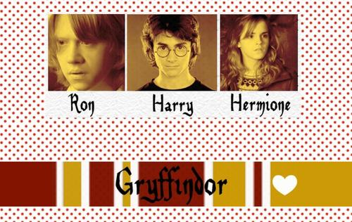 Gryffindor House Pride: Harry Potter, Hermione Granger, Ronald Weasley Wallpaper