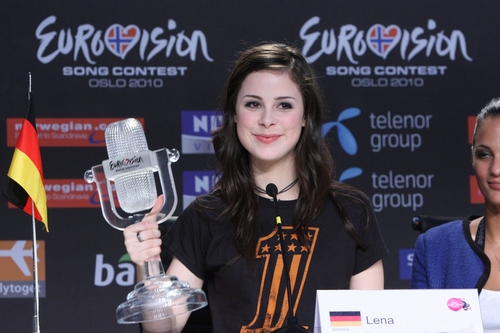 Lena at the Winner's press conference