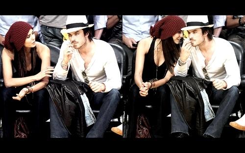 Ian Somerhalder và Nina Dobrev hình nền called Nian at laker's game