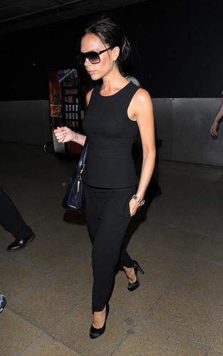 Victoria Beckham arriving at Heathrow (May 4)