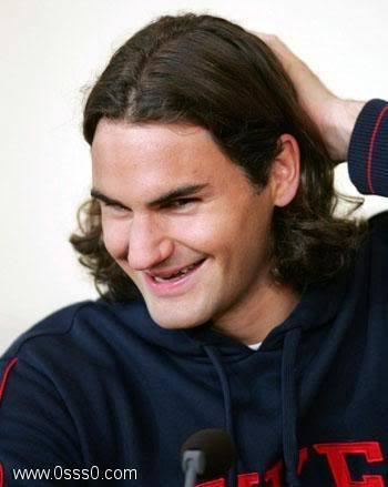 federer long hair