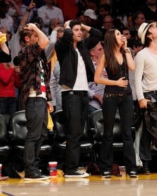 Ian and Nina at Lakers Game - the-vampire-diaries photo