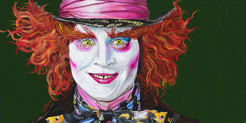 Awsome painting of JOHNNY DEPP as Madd Hatter from Alice and Wonderland by artist Justin Pok
