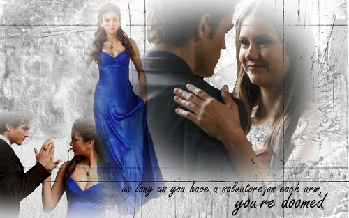 The Vampire Diaries TV Show wallpaper called Damon, Elena& Stefan