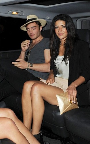 Ed Westwick and Jessica Szohr out together at the Soho Hotel (June 2)