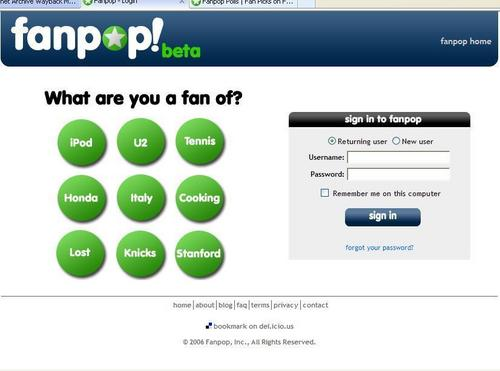 Fanpop's Login/Sign Up Page -Aug 2006