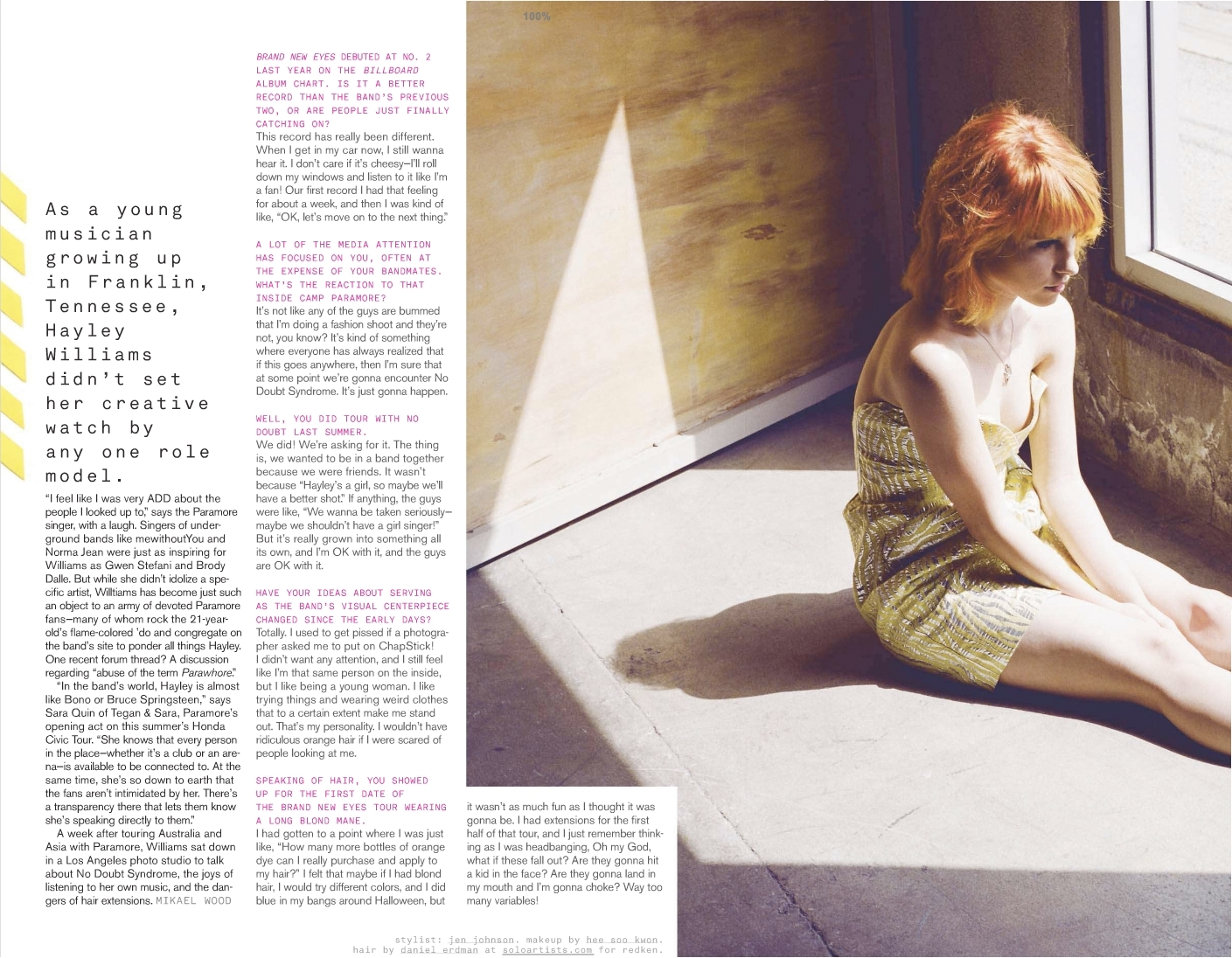 Hayley Williams of Paramore: Nylon magazine scans