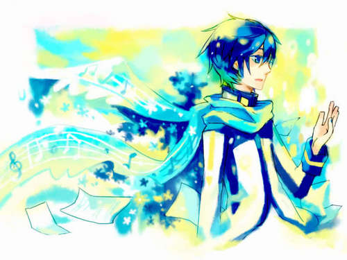 KAITO wallpaper titled Leaving behind a tangle of notes and sheets of  music