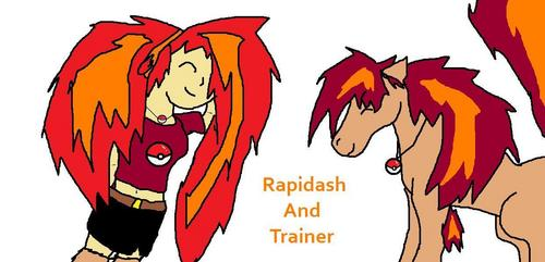 Rapidash and Trainer