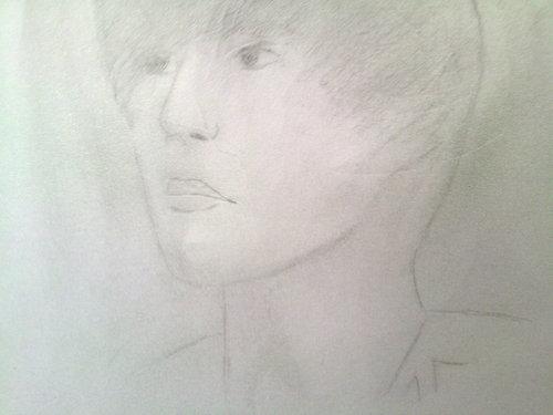sketch of justin bieber