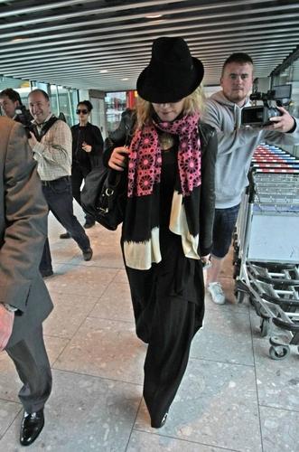 Madonna arrving at Heathrow airport, London
