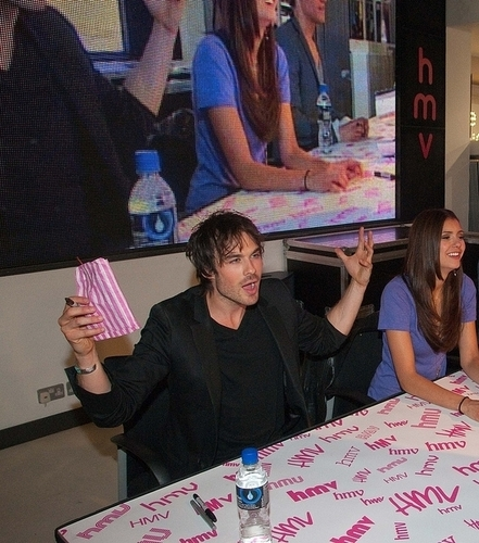 Ian & Nina - at HMV - ian-somerhalder Photo