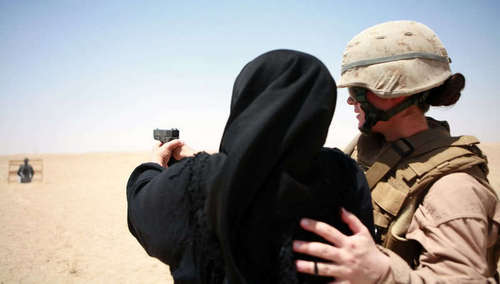 Marine Officer Training Iraqi Woman