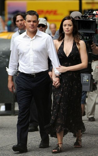"Matt Damon and Emily Blunt on the set of ""The Adjustment Bureau"" (June 11)"