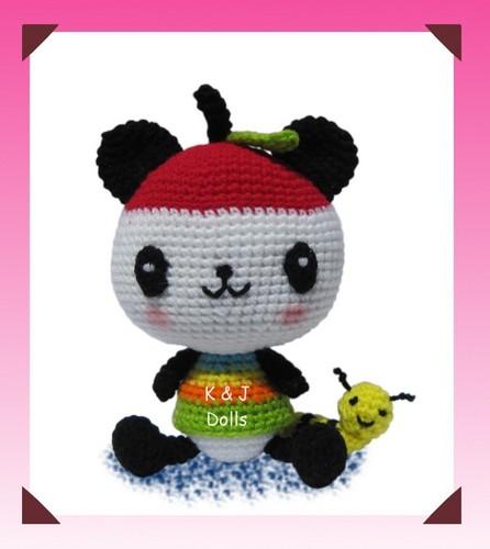 Panapple panda crocheted doll