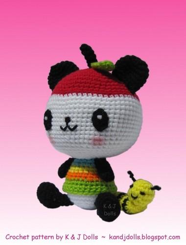 Pandapple crocheted doll