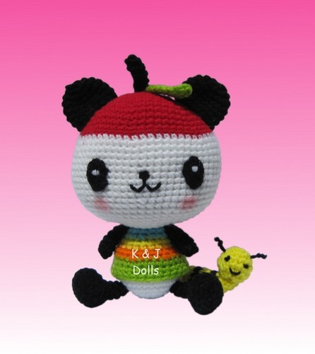 Pandapple crocheted doll