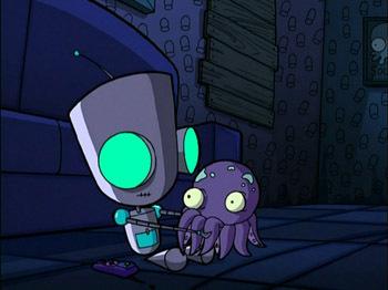 Robot GIR In The Dark With An Octopus