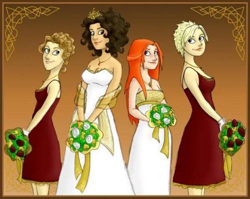 Harry Potter kertas dinding titled drawing of hermione-ginny double wedding