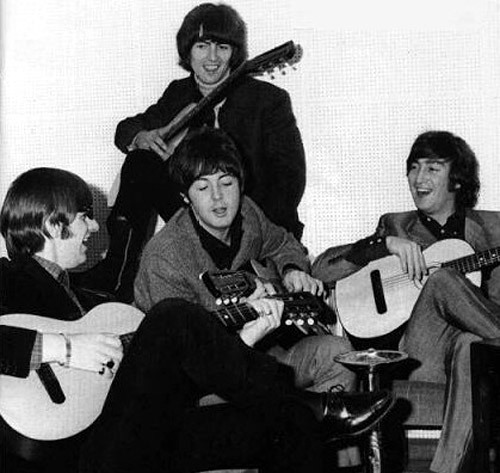 Beatles with their russian classical guitars