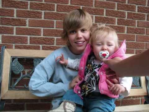 Justin Bieber with his little sister