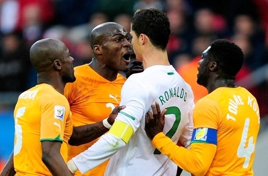 Ivory Coast shouting at Cristiano Ronaldo
