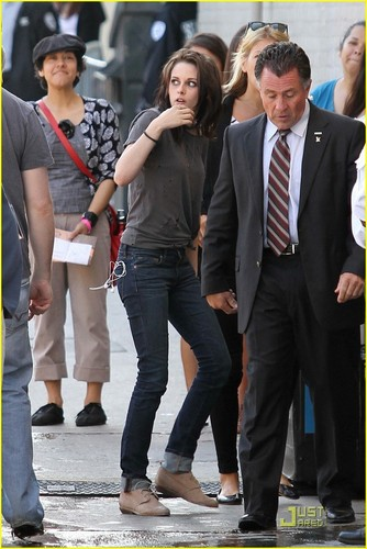 Kristen Stewart and Robert Pattinson heading into the studio to tape a segment for Jimmy Kimmel Live