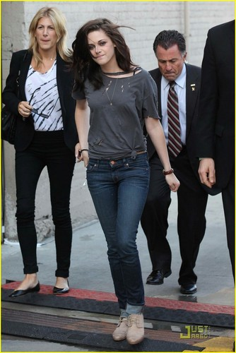 Kristen Stewart heading into the studio to tape a segment for Jimmy Kimmel Live