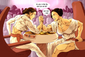 Padme and Leia arm wrestling