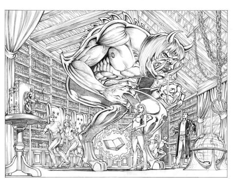 Preview art. Paige and Leo are fighting a big demon in Magic School.