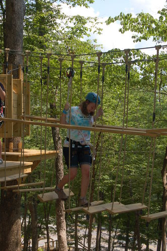 Rope course and zipline