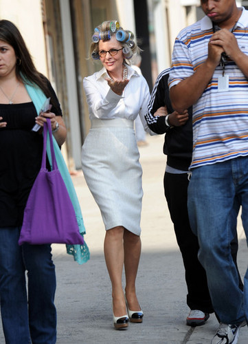 Diane Keaton On Set Of 'Morning Glory'