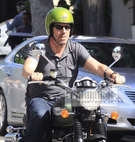 Hugh riding his bike (NO RING !!!!)