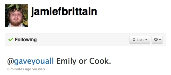 JB tweeted that his favorit characters of Gen 2 are Emily and Cook