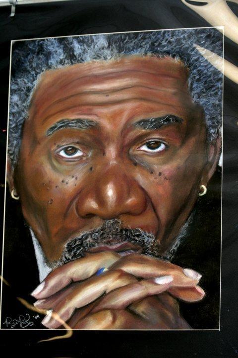 morgan Freeman pastel drawing
