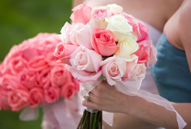 Beautiful pink and ivory wedding bouquet