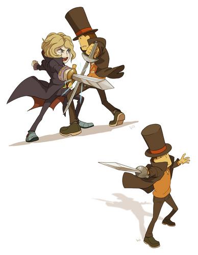 Layton and Anton sword fighting