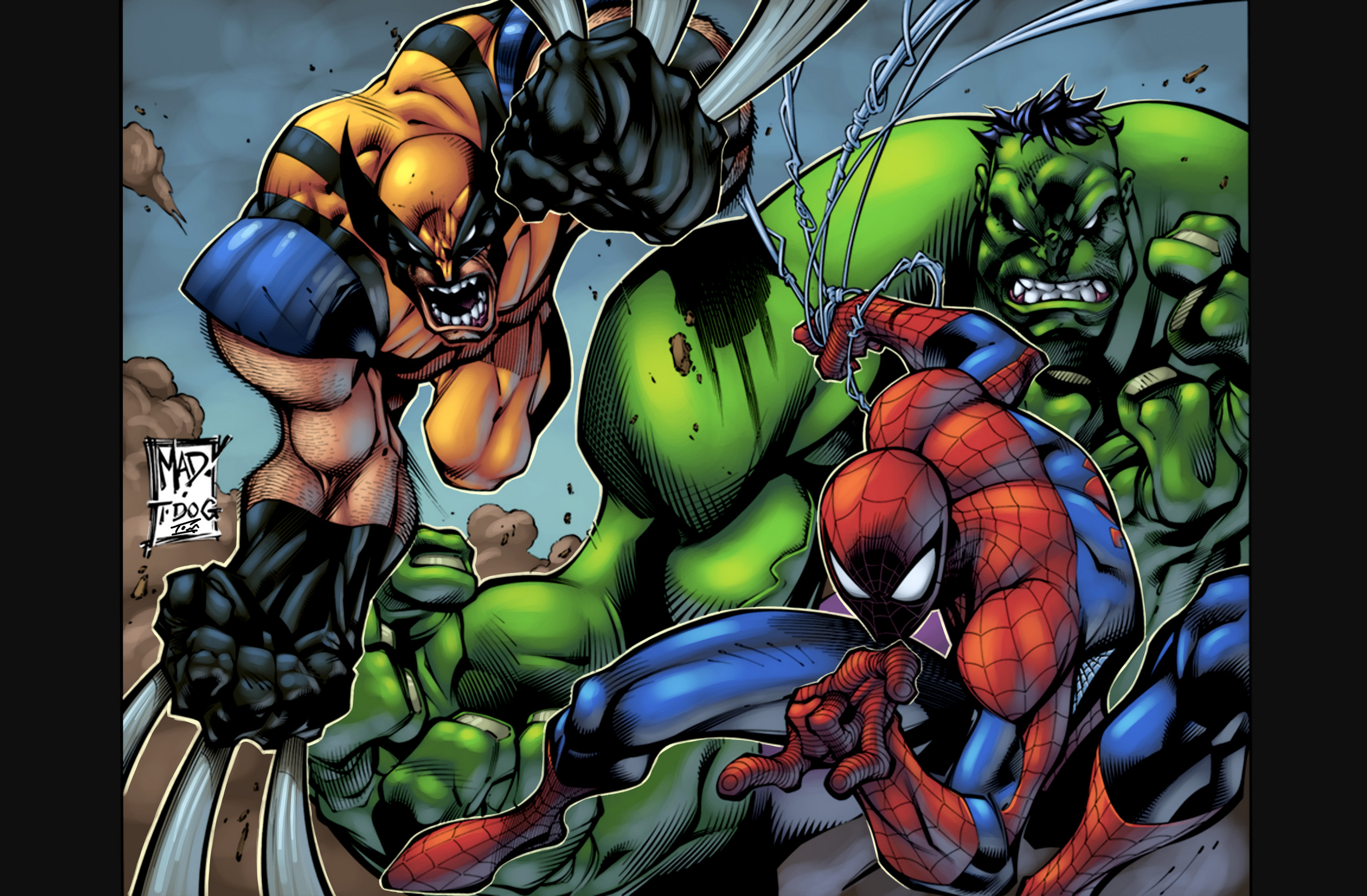 Spider man spiderman with hulk and x men