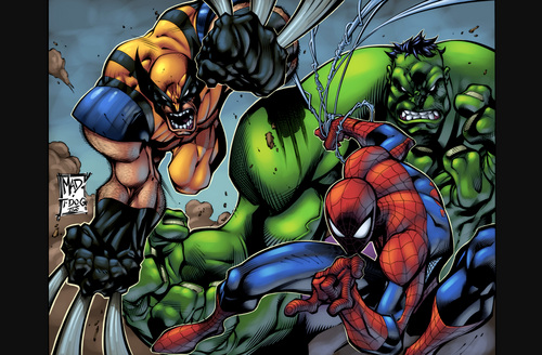 Spider-Man kertas dinding titled SpiderMan with Hulk and X Men