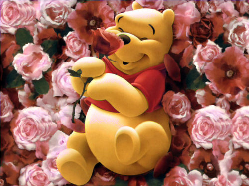 Roses wallpaper called Wini The Pooh In Roses